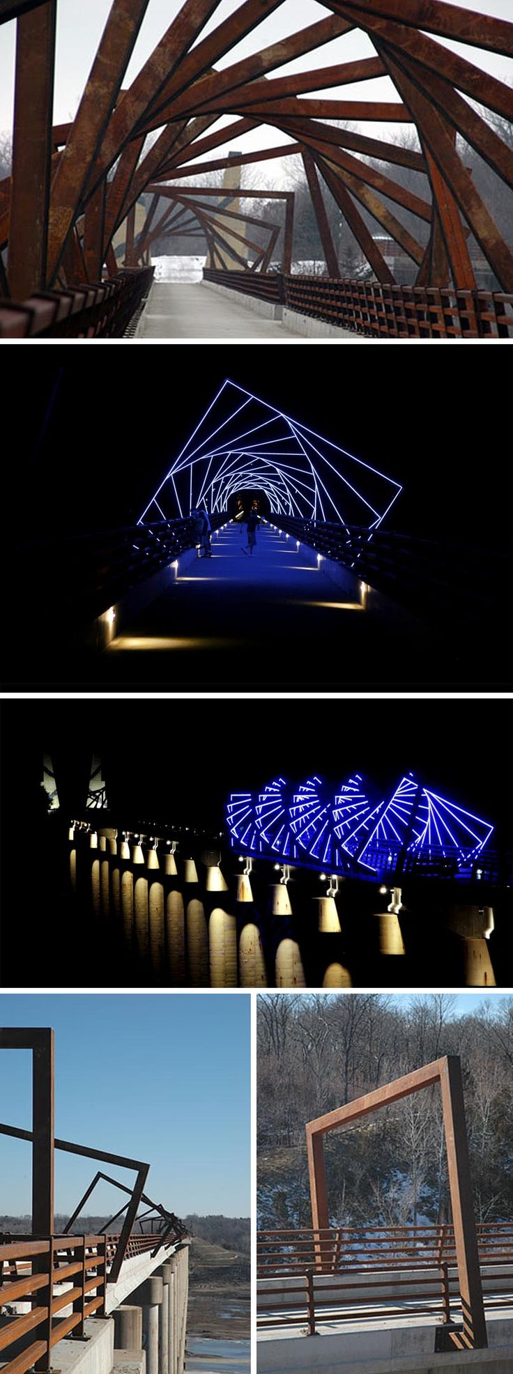 """High Trestle Trail Bridge in Boone County by public artist David B. Dahlquist of RDG Dahlquist Art Studio in response to a """"call for artist"""" competition issued by the Iowa Natural Heritage Foundation."""