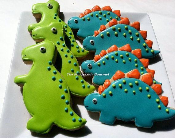 Custom Dinosaur cookies 1 dozen by TheFancyLadyGourmet on Etsy, $30.00