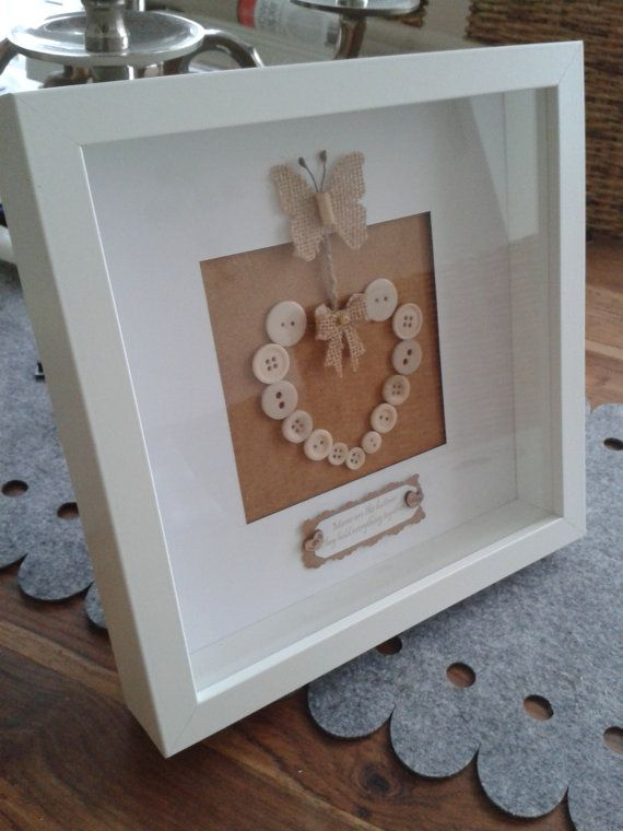 Mother's Day Box Frame Button Heart Art - Personalised with message of your choice