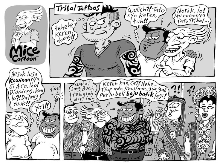 Mice Cartoon: Tribal Tattoos | via Kompas, 23.12.2012