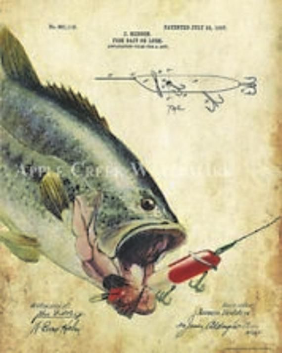 OFFICIAL RAINBOW TROUT FLY FISHING LURE US PATENT CANVAS ART PRINT ANTIQUE FISH