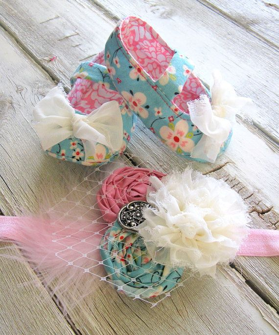 Baby Shoes Turquoise Pink Floral Cream