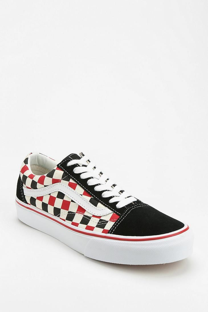 old skool vans black and red