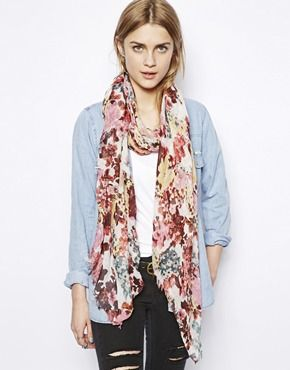 Image 1 of Pull&Bear Floral Print Scarf