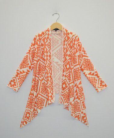 Look at this #zulilyfind! Orange & Gray Geometric Sidetail Cardigan - Girls by My Michelle #zulilyfinds