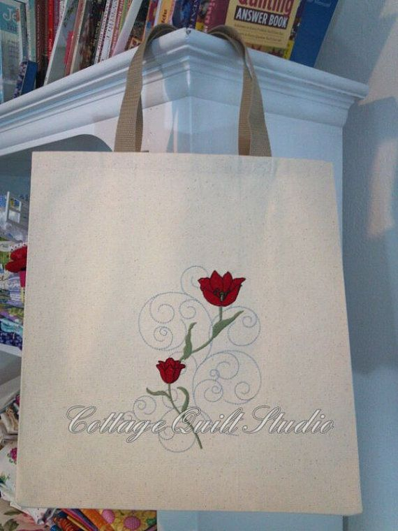 Floral Embroidered Shopping Bag / Tote Bag! Unlined, perfect for groceries, craft projects, books etc.!