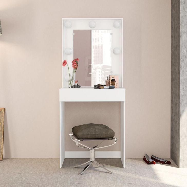 Penteadeira Camarim Lavinia com Espelho Branco Politorno