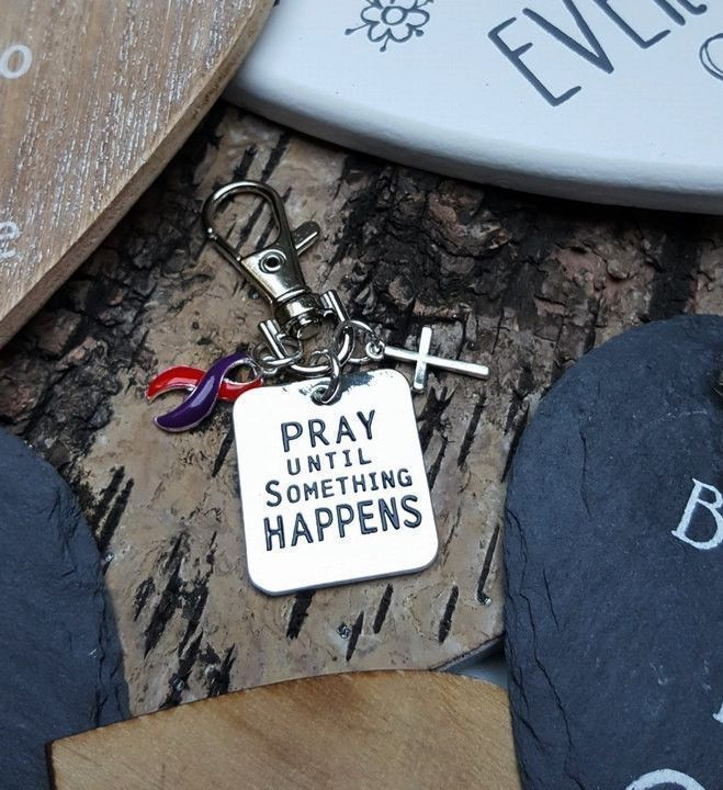 RP-6 Chronic Migraine Awareness DSRCT Cancer Support Keychain Pray Until Something Happens Womens Keychain Christian Keychain For Men #migraineawareness #migrainequotes #migrainetruths
