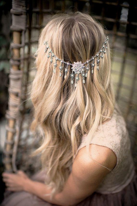 Bridal Draped Hair Chain, Wedding Hair Wrap Halo Silver, Grecian Headpiece Silver, Draped Hair Comb Head Piece, Floral Hair Wreath - 'VENUS'
