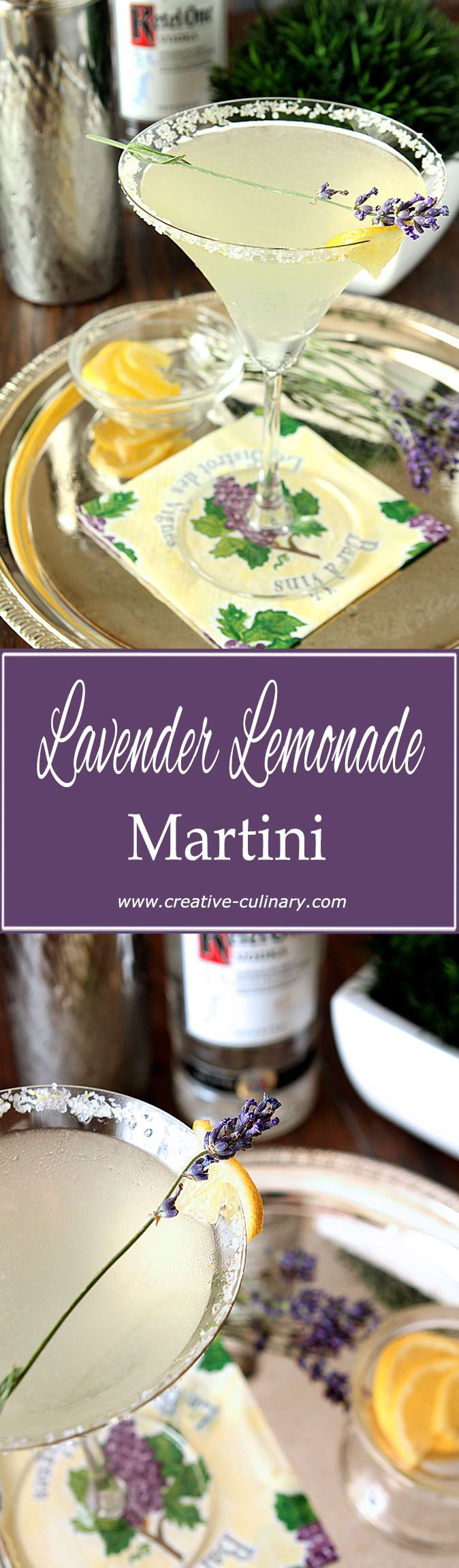 Light, Fresh and Lemony with just a hint of lavender, this Lavender Lemonade Martini is a fantastic summer libation. via @creativculinary