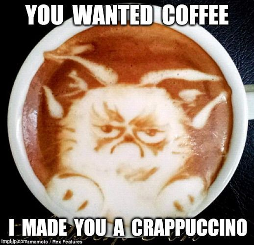 Catch It | YOU  WANTED  COFFEE I  MADE  YOU  A  CRAPPUCCINO | image tagged in grumpy cat coffee,coffee | made w/ Imgflip meme maker