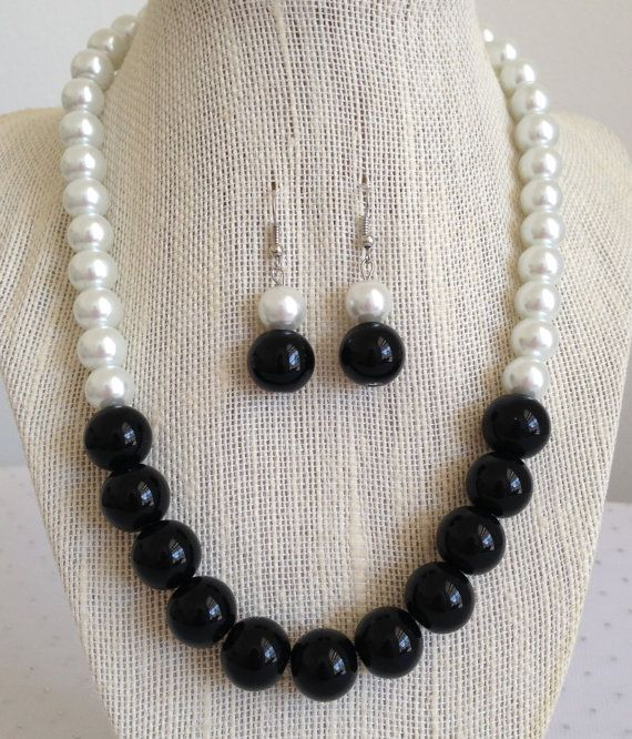 Chunky Black and White Pearl Necklace Gatsby by CherishedJewelryCo, $28.00
