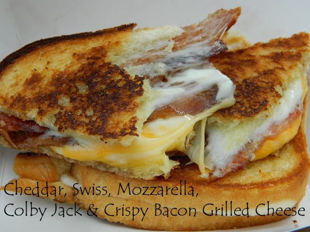My Favorite Things: Cheddar, Swiss, Mozzarella, Colby Jack & Crispy Bacon Grilled Cheese