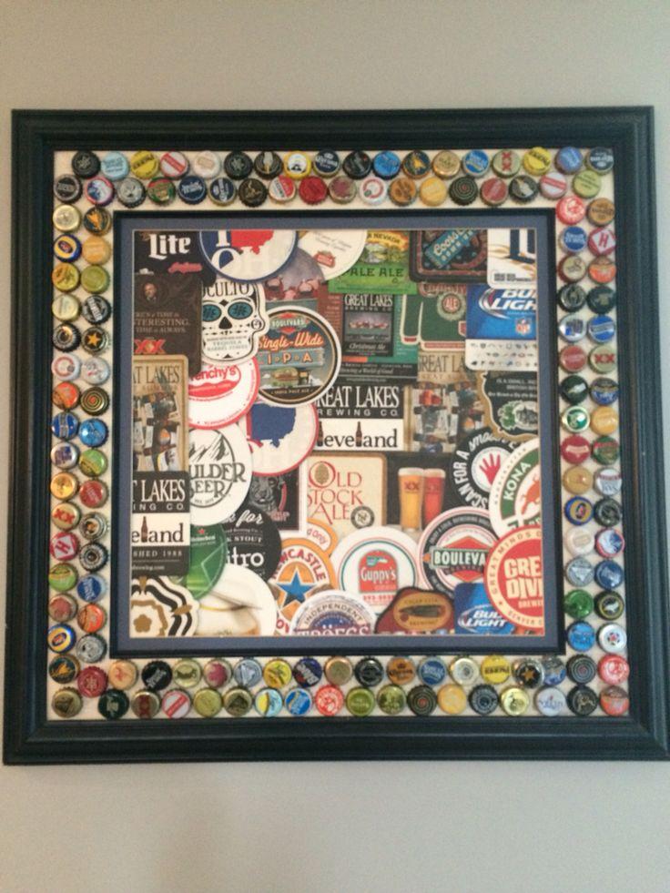 Beer coaster/bottle cap frame More