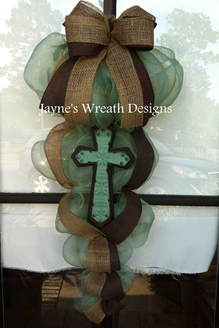 Cross Door Swags/Wreaths with Burlap Ribbon  Jayne's Wreath Designs on fb