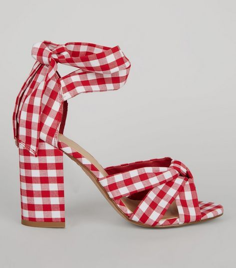Red Gingham Tie Up Ankle Heeled Sandals | New Look