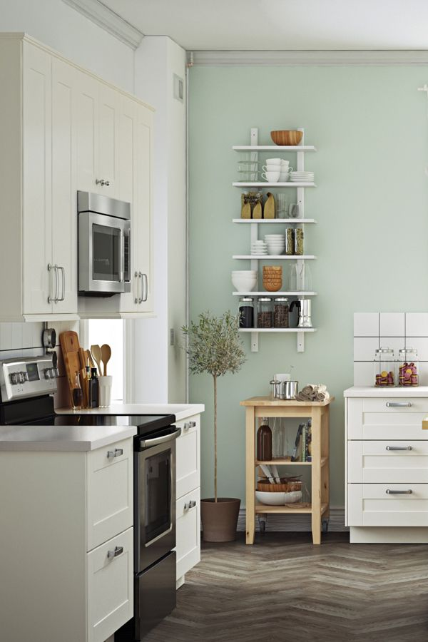 Open shelves and IKEA wall organizers give you instant access to the essential things in your kitchen. Because when you're in your chef zone, you don't want anything interrupting your flow.