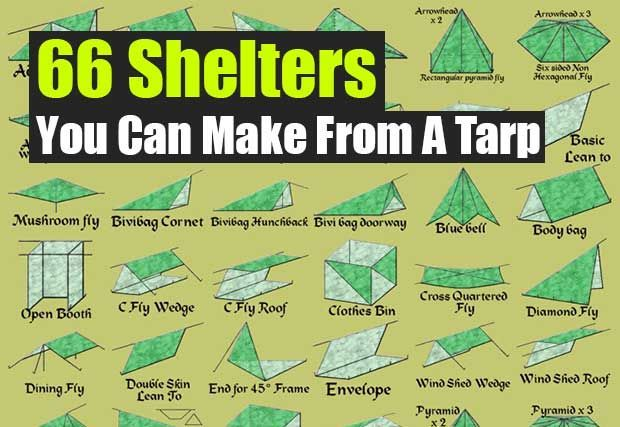 66 Shelters You Can Make From A Tarp - SHTF, Emergency Preparedness, Survival Prepping, Homesteading