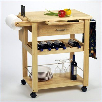 Winsome Basics Butcher Block Kitchen Cart in Solid Natural Beachwood for a small kitchen