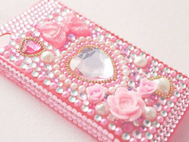 Cute Pink Pearled And Floral Iphone Case