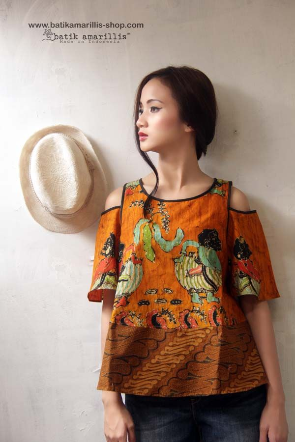 batik amarillis painter's blouse made with Batik Wonogiren .. Lovely and Romantic A Line Hem with bell shaped sleeves, Shoulder Cutout Top....