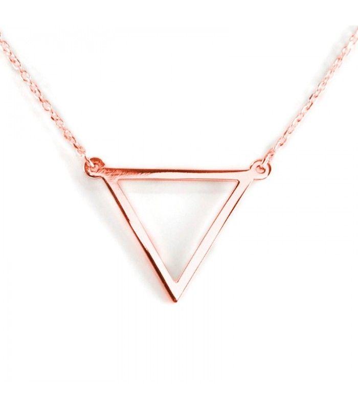 7b391d3941cb Colgante de triángulo de plata de primera ley bañada en oro rosa con cadena  de plata rosa incluida.  pendant  colgante  joyas  jewelry  pl…