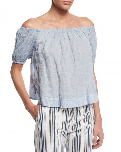 See+by+Chloe+Crinkled+Off+the+Shoulder+Top+Forever+Blue+Women's+34+0+|+Clothing