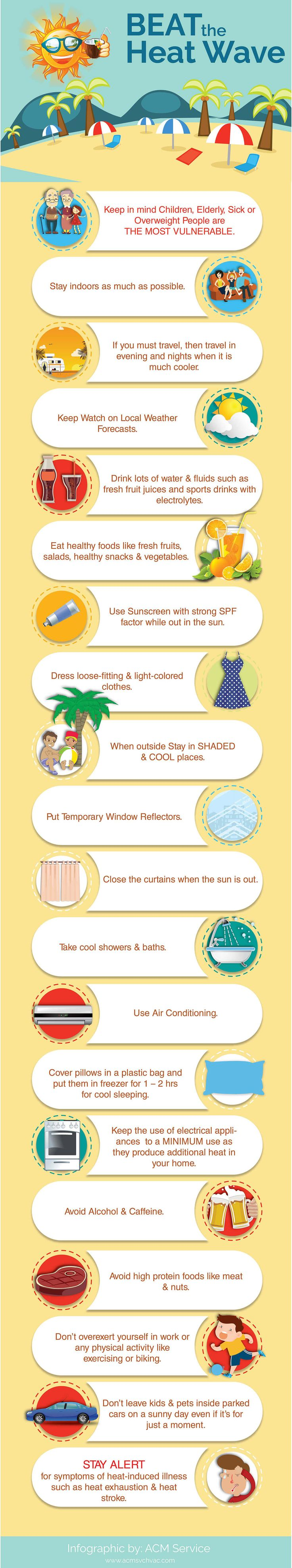 Having a hard time battling the hot weather in summer? Then, check out this infographic to know more about how to beat the heat wave & stay cool in summer.