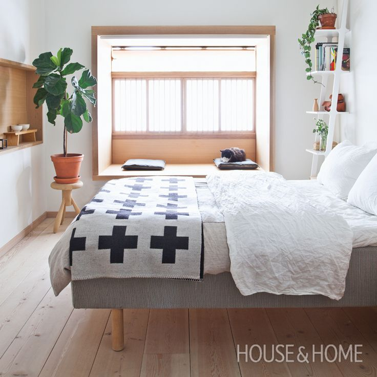 Scandinavian-Style Bedroom   Sleek Scandinavian design may not sound like it lends itself to family living, but this home proves otherwise. John Baker and Juli Daoust Baker of Mjolk share their bright and airy city family home. See inside the carefully curated space that's influenced by Scandinavian and Japanese design. http://houseandhome.com/tv/segment/bright-warm-scandinavian-modern-family-home