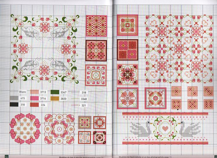 Cross stitch pattern biscornu, swans, floral, all over, border