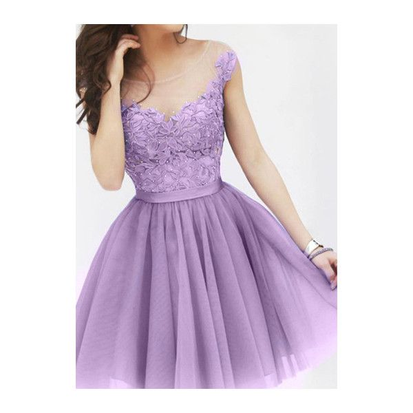 Rotita Cheap Homecoming Dresses Lavender Short Prom Dresses Cocktail... (28 AUD) ❤ liked on Polyvore featuring dresses, purple, homecoming dresses, short sleeve dress, light purple dress, short-sleeve dresses and short cocktail dresses