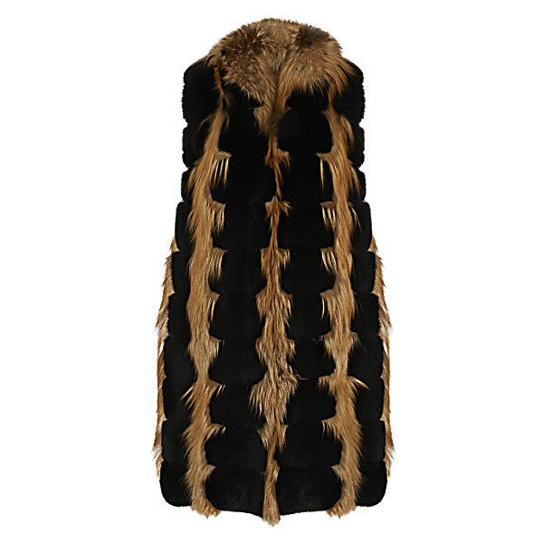 Gilet de fourrure sans manches (1.840 BRL) ❤ liked on Polyvore featuring outerwear, vests, gilet vest, vest waistcoat, long waistcoat and long vests