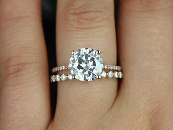 freaking LOVE how thin this band is!!! Eloise 9mm & Petite Bubble Breathe 14kt Gold FB Moissanite and Diamonds Cathedral Wedding Set (Other metals and stone options available)