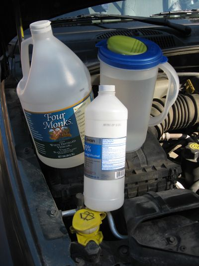 Windshield Washer Fluid.  Here's the recipe*:  2 cups white vinegar  1/2 cup rubbing alcohol  3 quarts warmish water