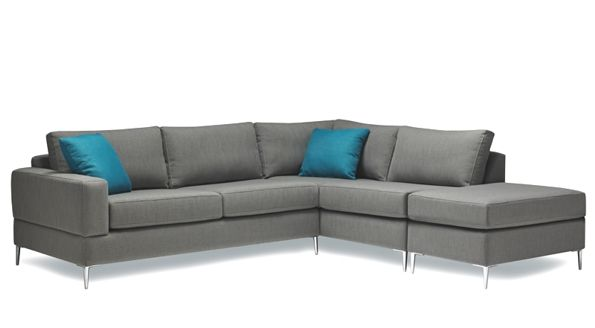 Check out this modern, grey sectional from Stylus Sofas!