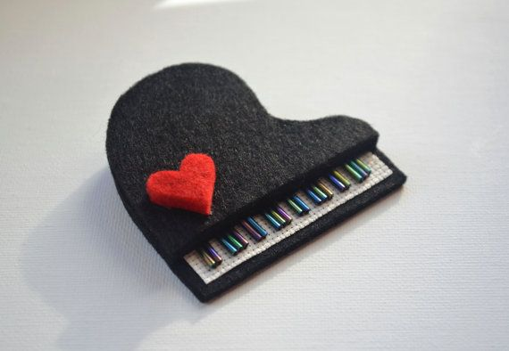 felt piano brooch with red heart by greenaccordion on Etsy