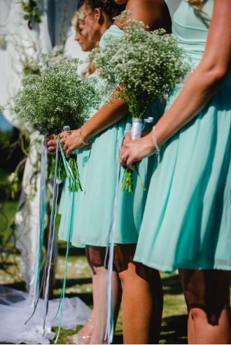 Simple and elegant bridesmaid bouquets using bunches of gyp. Effective and affordable.  ~ Image Property of Darren Bester Photography
