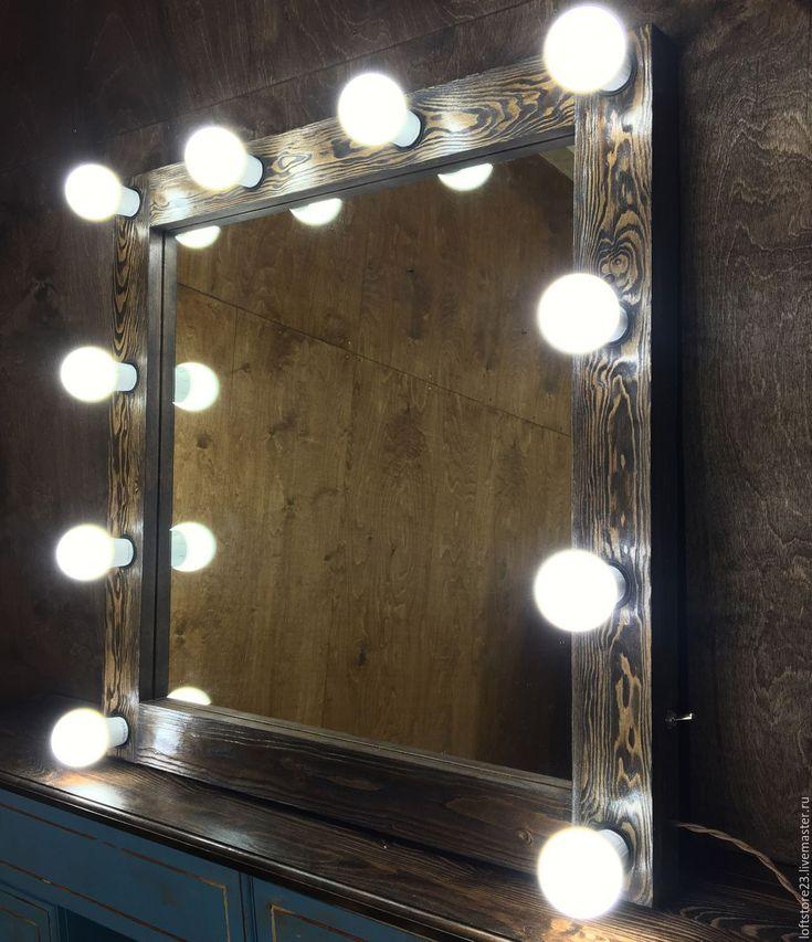 Купить Гримерное зеркало DARK WOOD. 70/70 - коричневый, зеркало как в гримерке, зеркало для макияжа