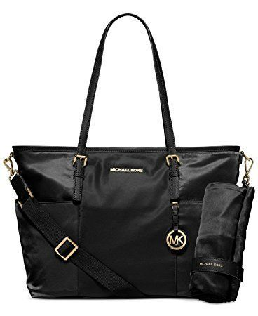Michael Kors Jet Set Large Nylon Pocket Baby Diaper Bag (Black ... d1100b497f