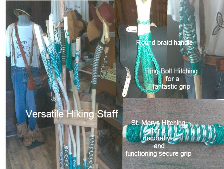 Decorative Rope work -Hiking Staff - Kings County Forge Everyone needs a hiking staff.  Whether your out for a huge back county hike or just a leisurely stroll in your neighborhood.  With a hiking stick you have better stability in rugged terrain, a means of supporting a tarp for shelter, hanging up wet clothes from a unexpected soak in the stream. Endless possibilities of why you should have one!
