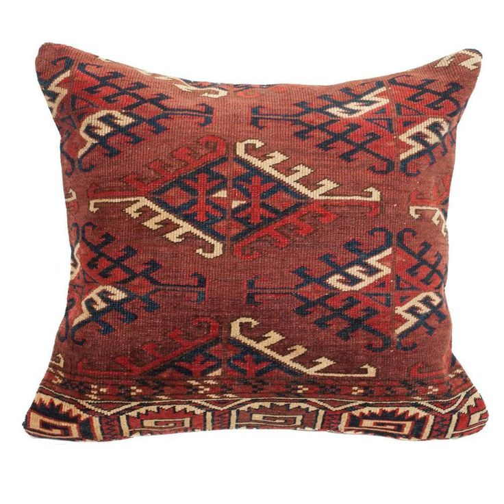 Antique Yomut Turkmen or Turkoman Pillow, Central Asia, 19th Century  | From a unique collection of antique and modern pillows and throws at https://www.1stdibs.com/furniture/more-furniture-collectibles/pillows-throws/