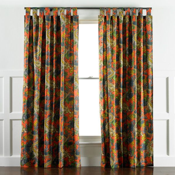 DwellStudio Ming Dragon Persimmon Curtain Panels FabricCurtain PanelsDining Room