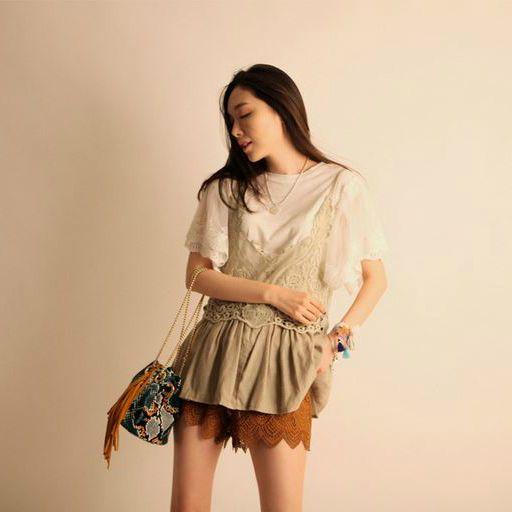 Korea feminine clothing Store [SOIR] [Pt] Punching Suede Shorts / Size : S,M,L / Price : 29.47USD #korea #fashion #style #fashionshop #soir #feminine #special #lovely #luxury #bottom #pants #shortpants