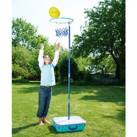 Netball Set - Get your girls out in the fresh air with this versatile netball set.    Including the base it's height adjustable up to 215cm, can be used on any surface and packs away neatly when not in use.    Includes ball and pump.