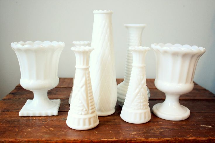 Milk Glass adds a touch of creamy white to any table-scape.  Little Wee Prop Shop