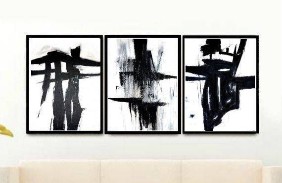 Black And White Abstract, Triptych Abstract Art Prints, Set of 3 Abstract Wall Art, Minimalist  Prints, Giclee Print, Home Decor, Wall Decor