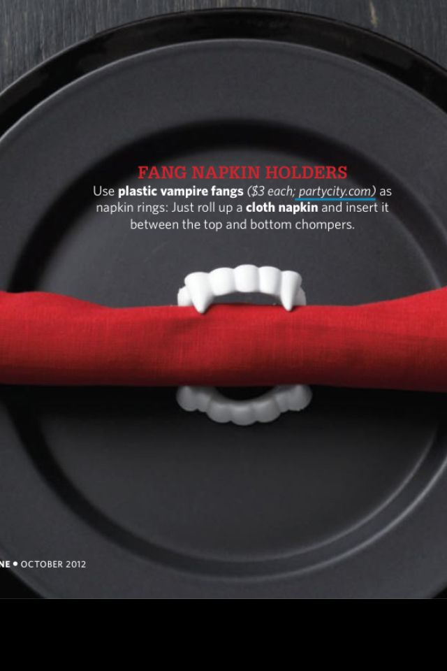 Great idea for a Halloween Party!! Vampire Fang Napkin Rings