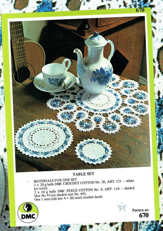 Original Vintage FLORAL Doily Set Crochet Pattern DMC 670