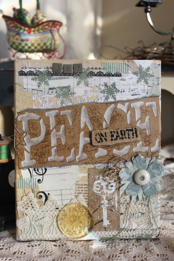 Canvas Mixed Media Art  Peace on EarthOriginal  by Howsewears, $45.00