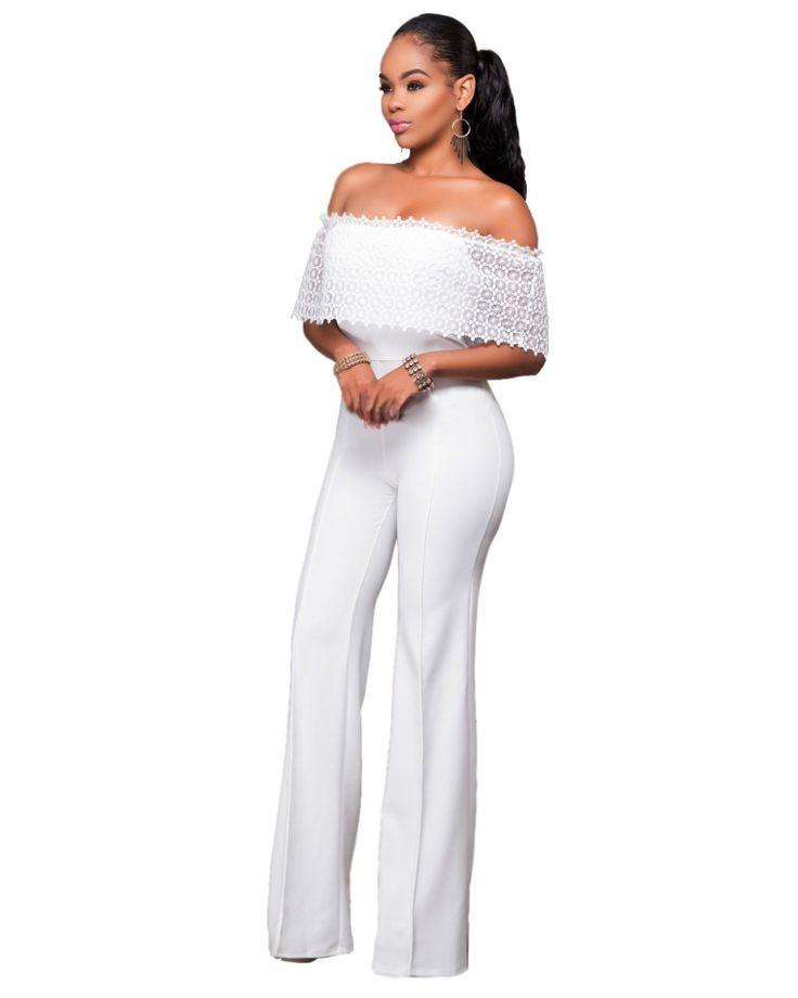 여성 프릴 레이스 파티 죄수 복 섹시한 블랙 화이트 오프 어깨 넓은 다리 긴 Playsuit 패션 사이드 지퍼 Macacao Feminino